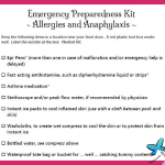 Anaphylaxis and Allergy Preparedness Kit List