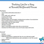 Packing List for Ronald McDonald House