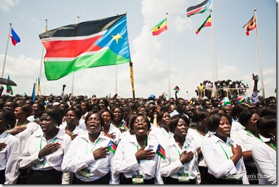 "South Sudanese choirs sang the national athem at the Independence Day ceremony in 2011.  Part of the lyrics include, ""Oh God, we praise and glorify You for Your grace on South Sudan ..."""