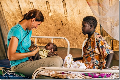 Nurse Erin Whitehouse is providing medical care at Yida's Stablization Center.  Many refugees arrive with malnourished children who need immediate care.