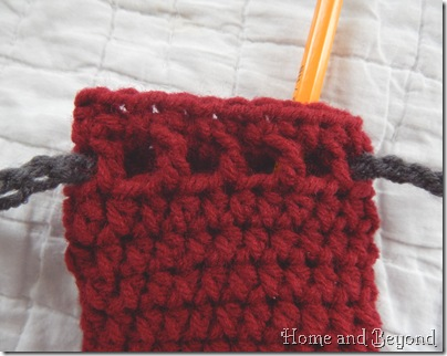 Crocheted Holes for Drawstring
