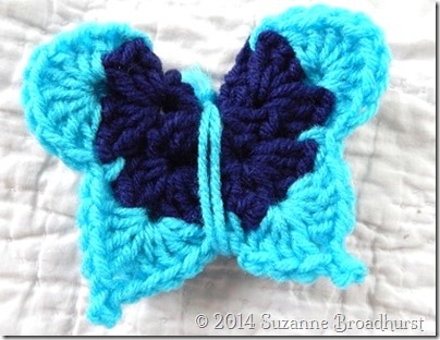 Blue and Teal Crocheted Butterfly