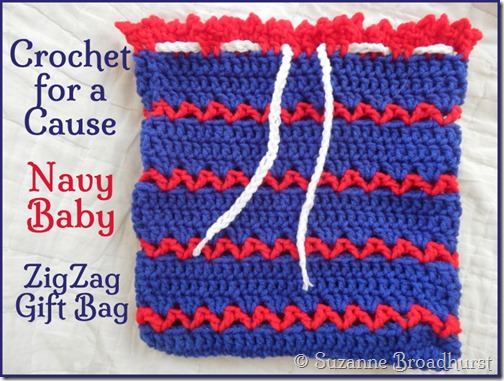 Crochet for a Cause Navy Baby ZigZag Bag