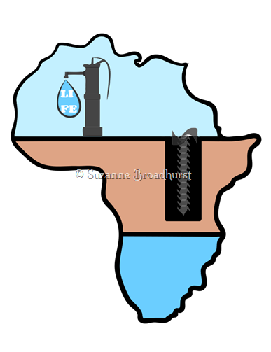 Africa with Lines and Color and Drill and Pump