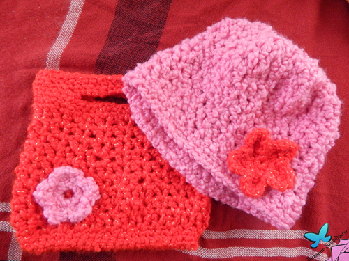 V-stitch Hat and Purse Set