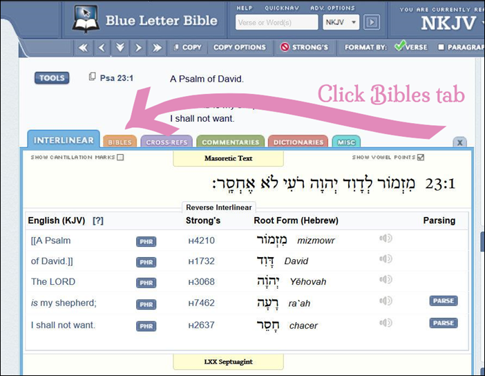 Bibles Tab Default Tab Psalm 23 BlueLetterBible