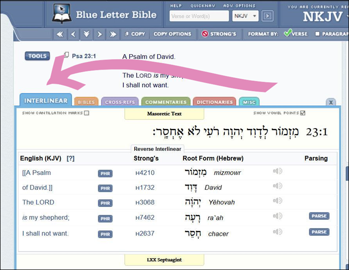 Interlinear Default Tab Psalm 23 BlueLetterBible