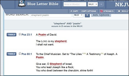 Tools Psalm 23 BlueLetterBible