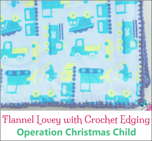 Flannel Lovey with Crochet Edging