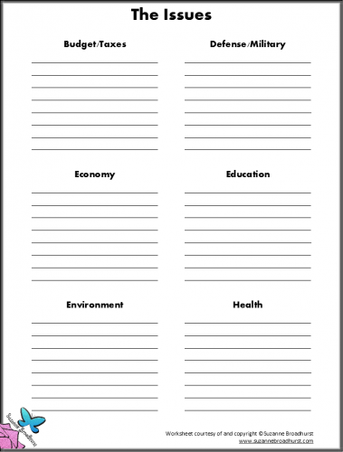 Printable Decision-Making Worksheets: 2016 Presidential Election