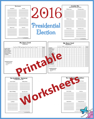 Worksheets 2016 Presidential Election