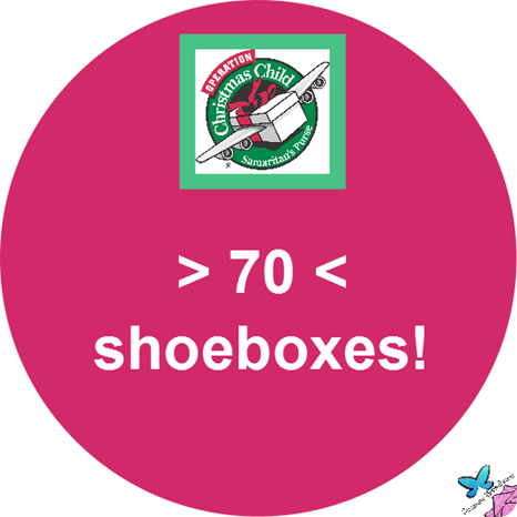 70 Shoeboxes for Operation Christmas Child